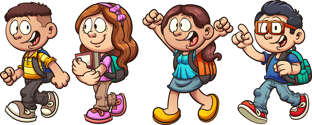 Vector graphic of young school kids
