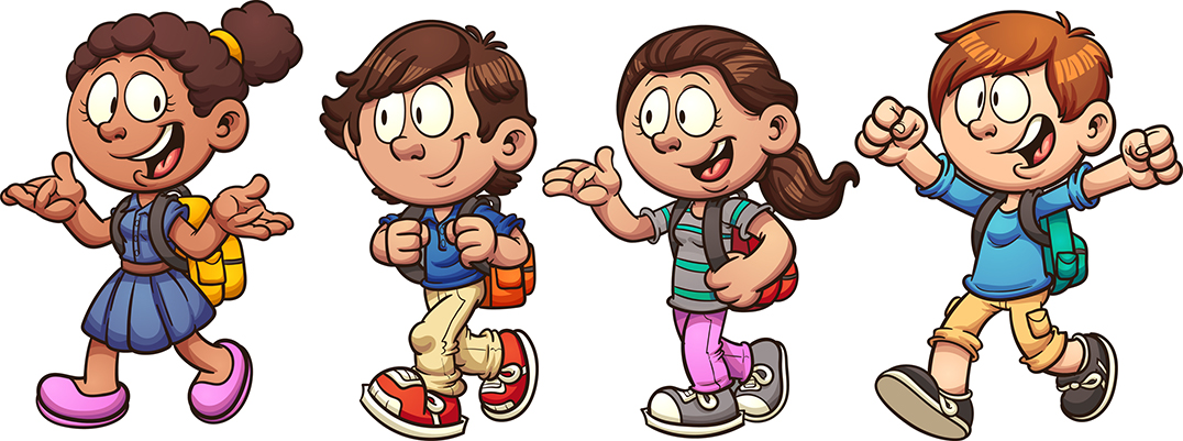 Vector graphic of young school kids
